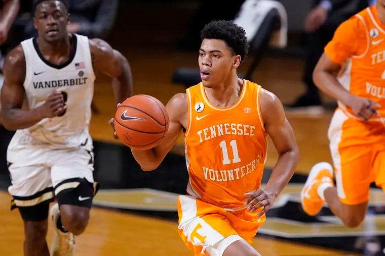Tennessee's Jaden Springer (11) plays against Vanderbilt in the second half of an NCAA college basketball game Wednesday, Feb. 24, 2021, in Nashville, Tenn. (AP Photo/Mark Humphrey)