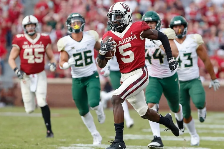 Marquise Brown (5) provides the speed that NFL teams covet.