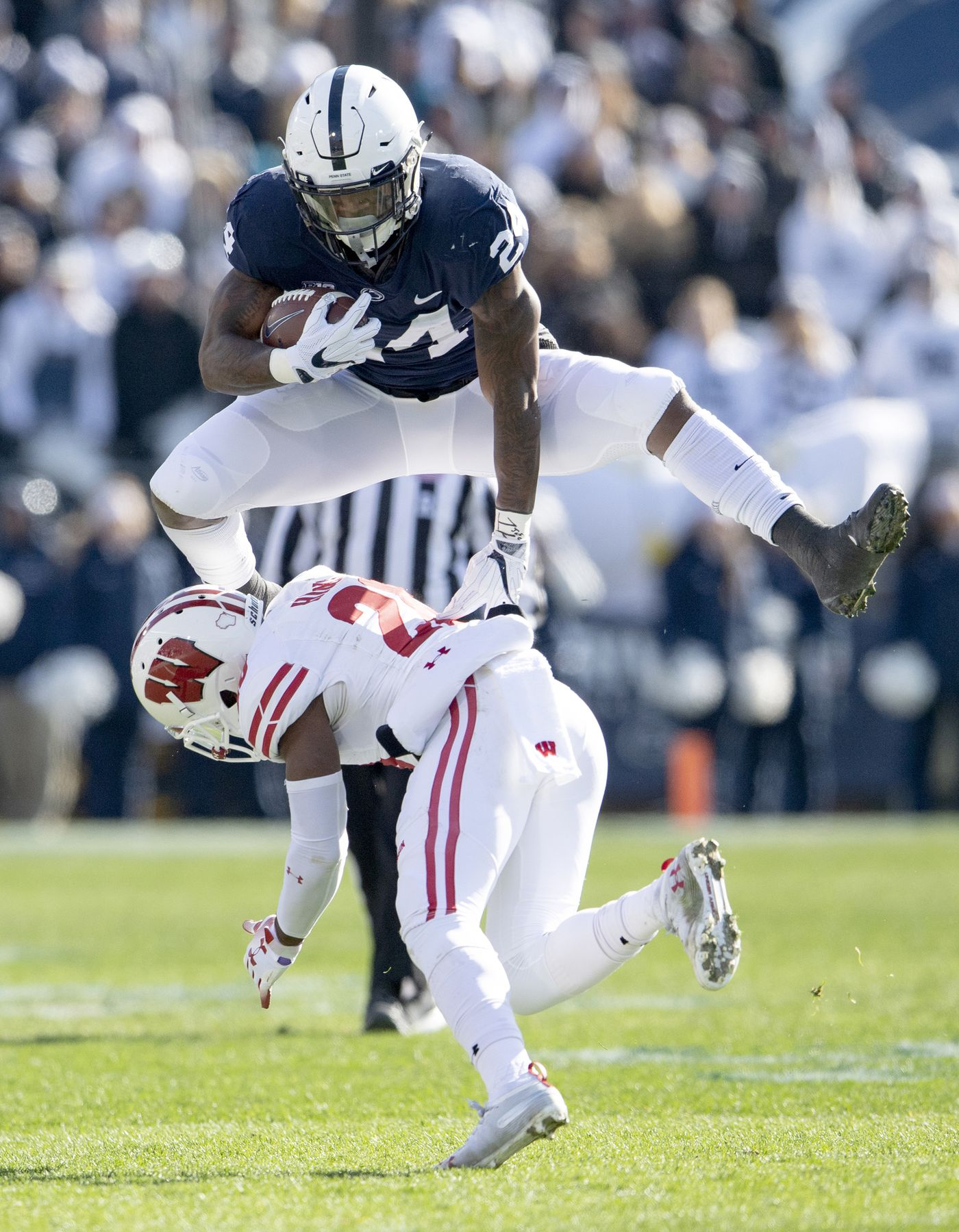 Penn State running back Miles Sanders has become a leader on and off the field for Nittany Lions