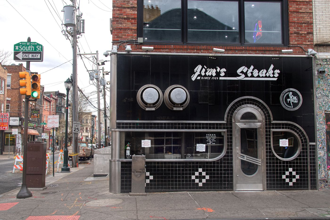 Jim's Steaks is shown on empty streets of South Street, Philadelphia. Monday, March 16, 2020.