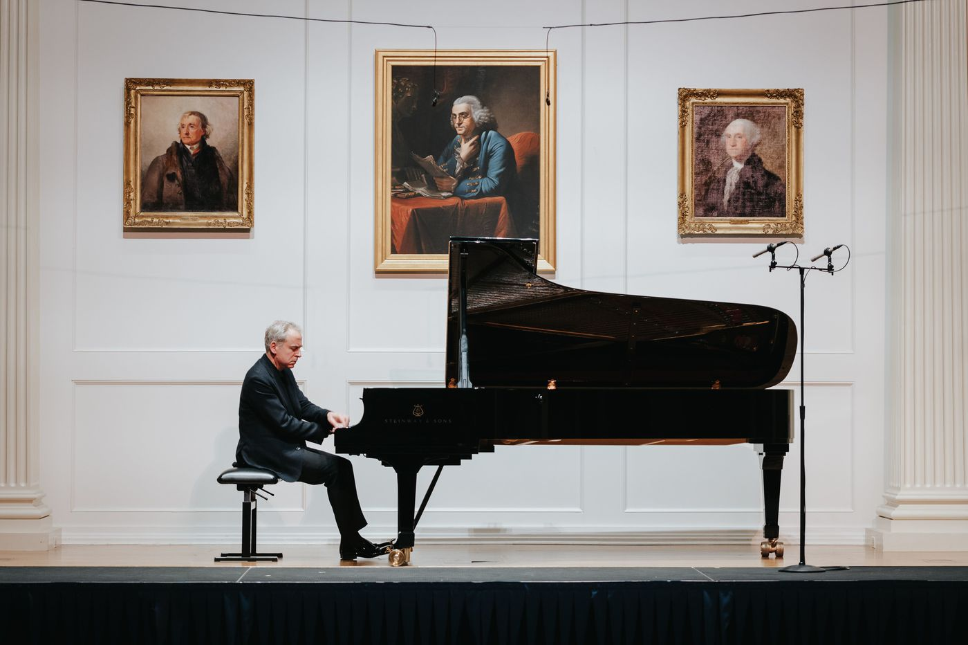 Pianist Jeremy Denk plays his PCMS program like the MacArthur 'genius' he is, with a John Lithgow coda