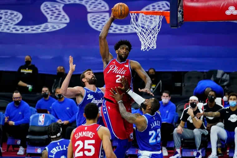 Joel Embiid has battled back tightness for most of the season, and a push by LeBron James during the Jan. 27 Lakers-Sixers game didn't help.