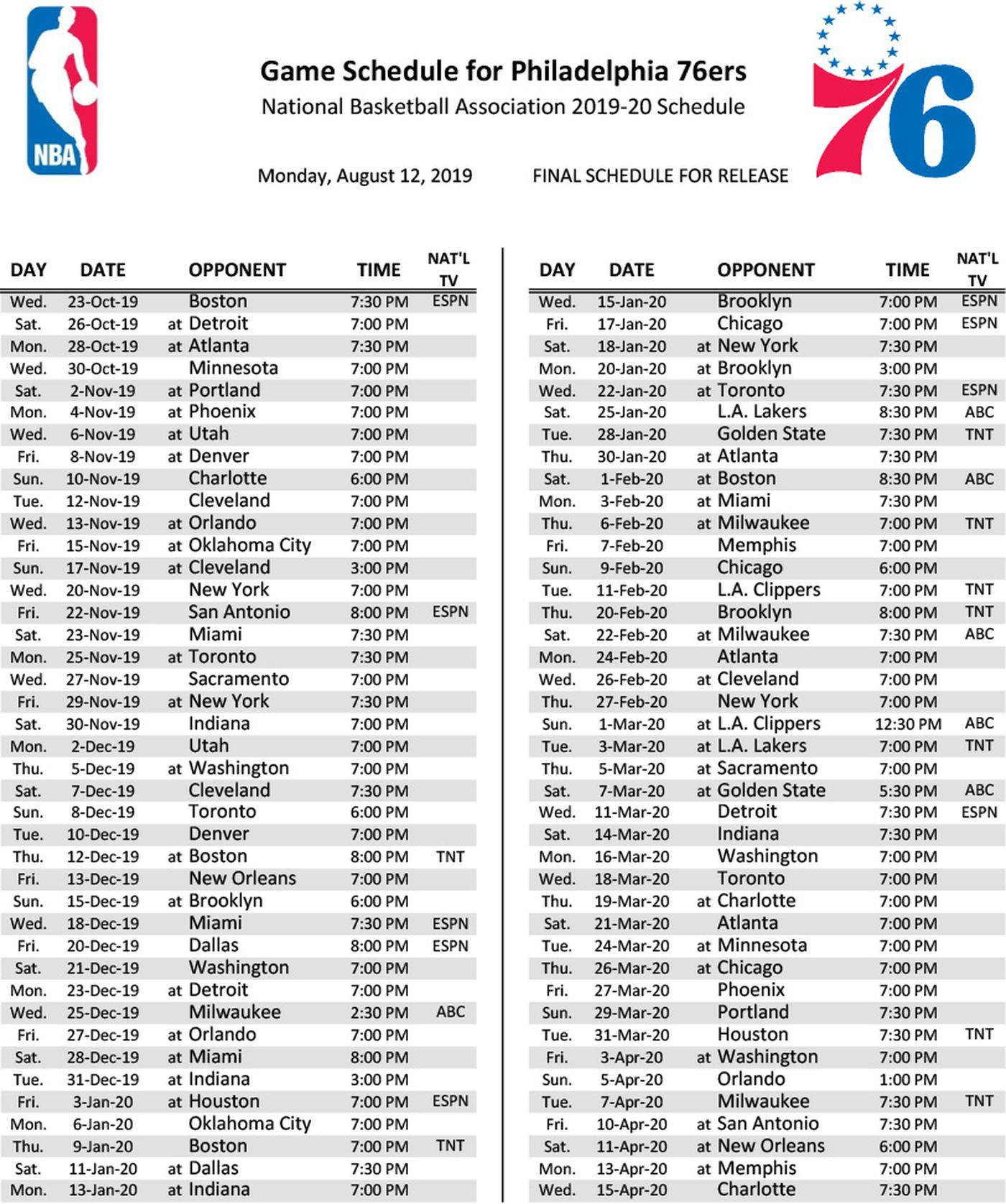 Lakers Schedule 2020.Sixers 2019 20 Schedule Open With Celtics Kawhi Leonard