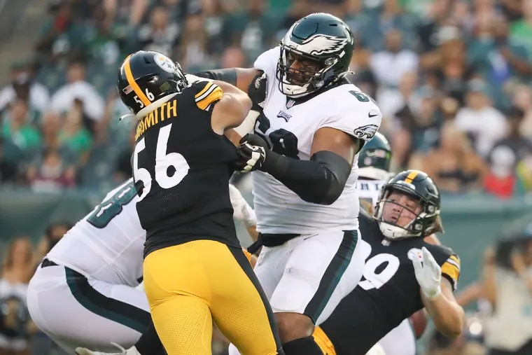Eagles offensive tackle Jordan Mailata blocks Pittsburgh Steelers linebacker Alex Highsmith during the first quarter in a preseason game at Lincoln Financial Field on Thursday, August 12, 2021.