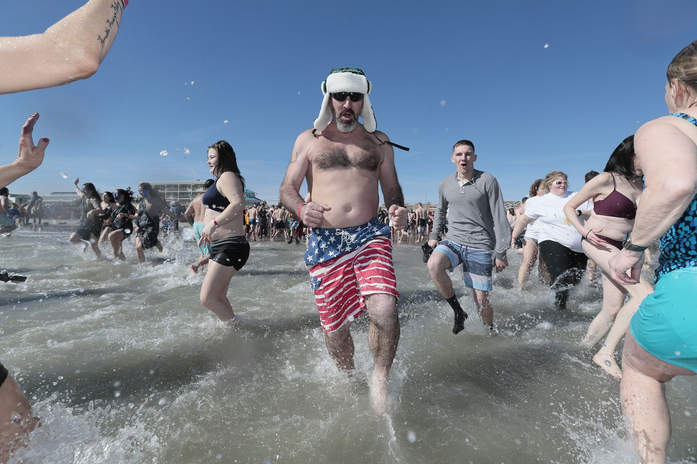 Winter finally arrived —unfortunately just when these people plunged into the ocean