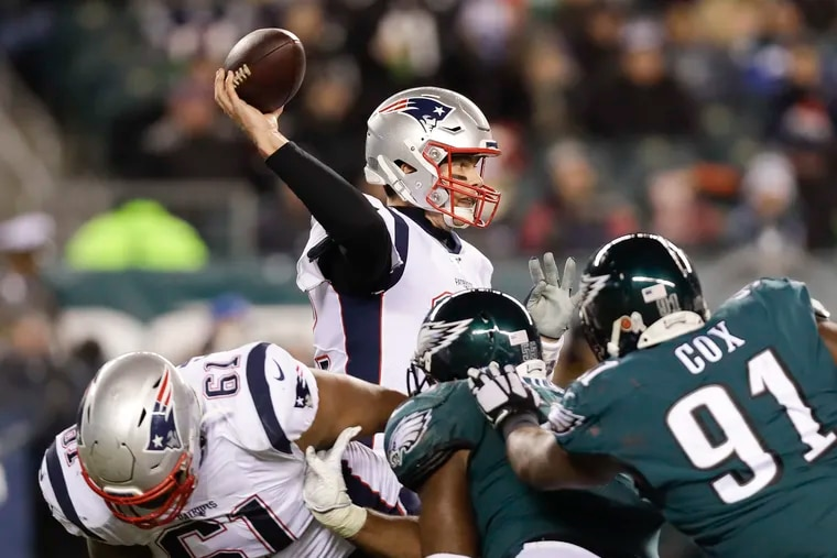 New England Patriots quarterback Tom Brady throws the football during the Patriots third-quarter touchdown drive against the Eagles on Sunday, November 17, 2019 in Philadelphia.