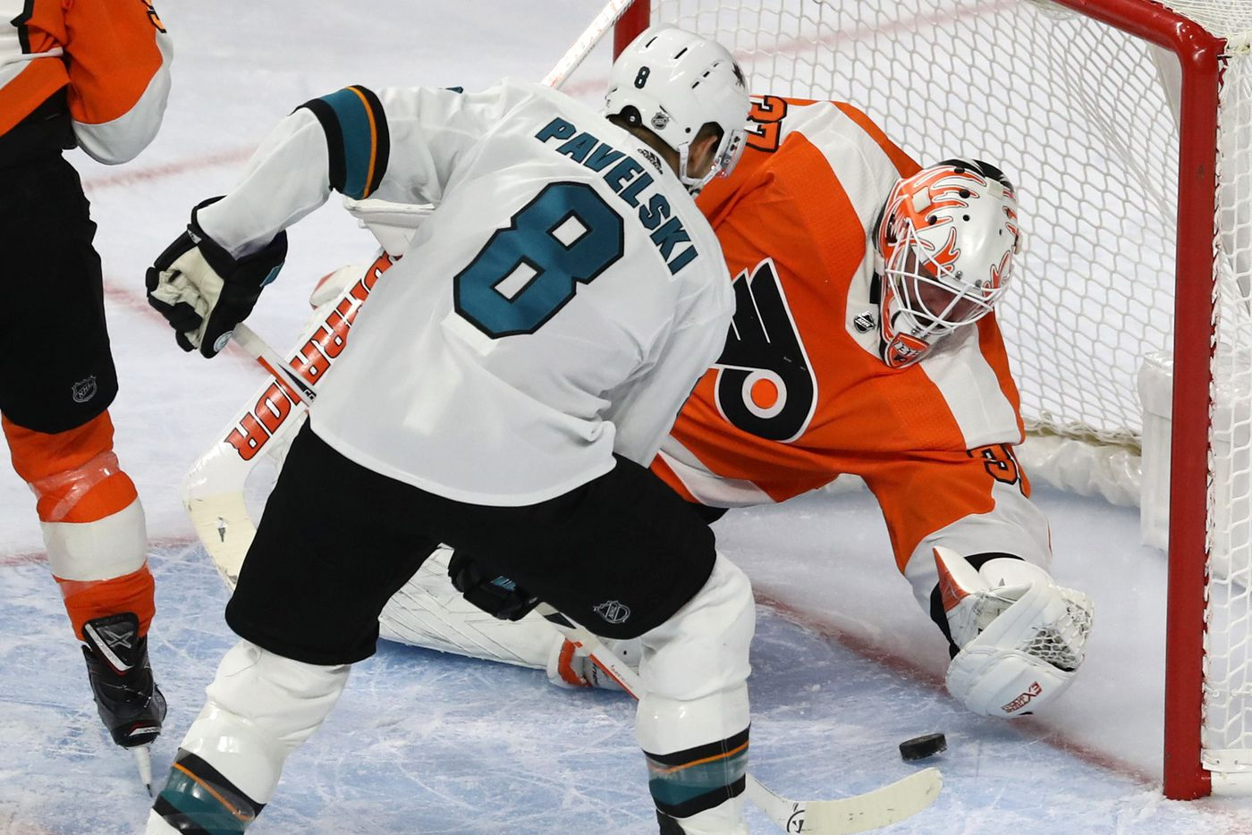 flyers lose to sharks 8 2 in deflating home opener