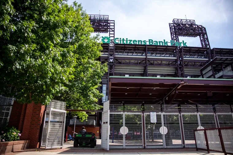One of the gates to Citizens Bank Park, the home stadium of what looks to be a much different Phillies organization.    Michael Russo, of Center City Philadelphia, Landscaping crew, drives through the open gate at Citizens Bank Park on Wednesday, June 24, 2020.
