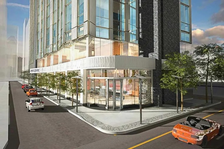 The new Hyatt Centric will replace a parking garage on a long narrow site at 17th and Chancellor Streets in Center City.
