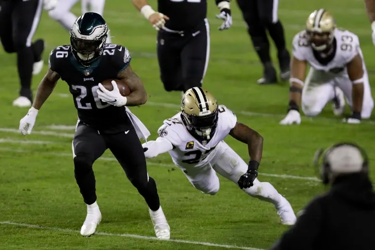 Miles Sanders scored two touchdowns, including an 82-yard touchdown, against the Saints in Sunday's 24-21 win.