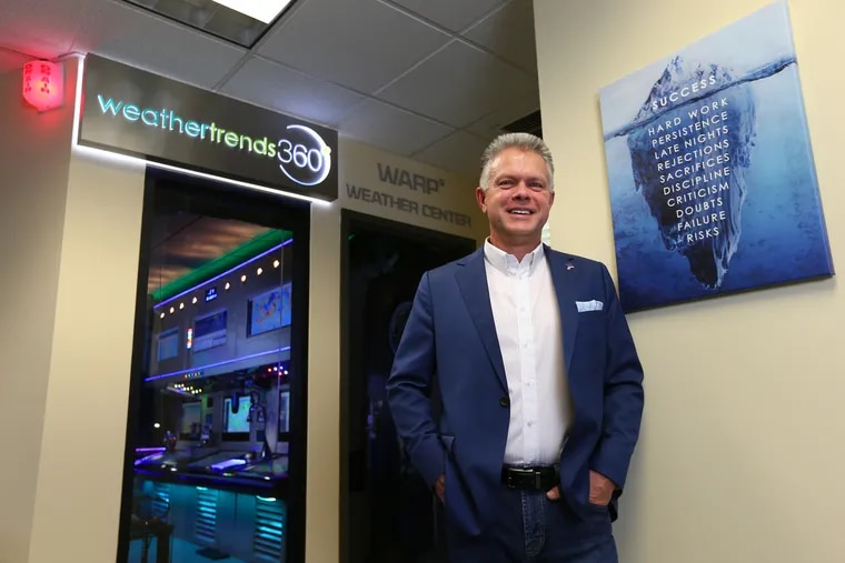 Bill Kirk, CEO and co-founder of Weather Trends International in his weather center studio in Bethlehem.
