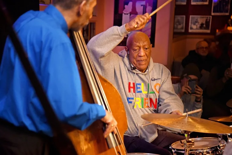 Bill Cosby plays the drums as he returns to the stage  in Philadelphia at LaRosa Jazz Club in Germantown section of the city on Monday, January 22, 2018. This is the first time since his sexual assault scandal force him into an early retirement.