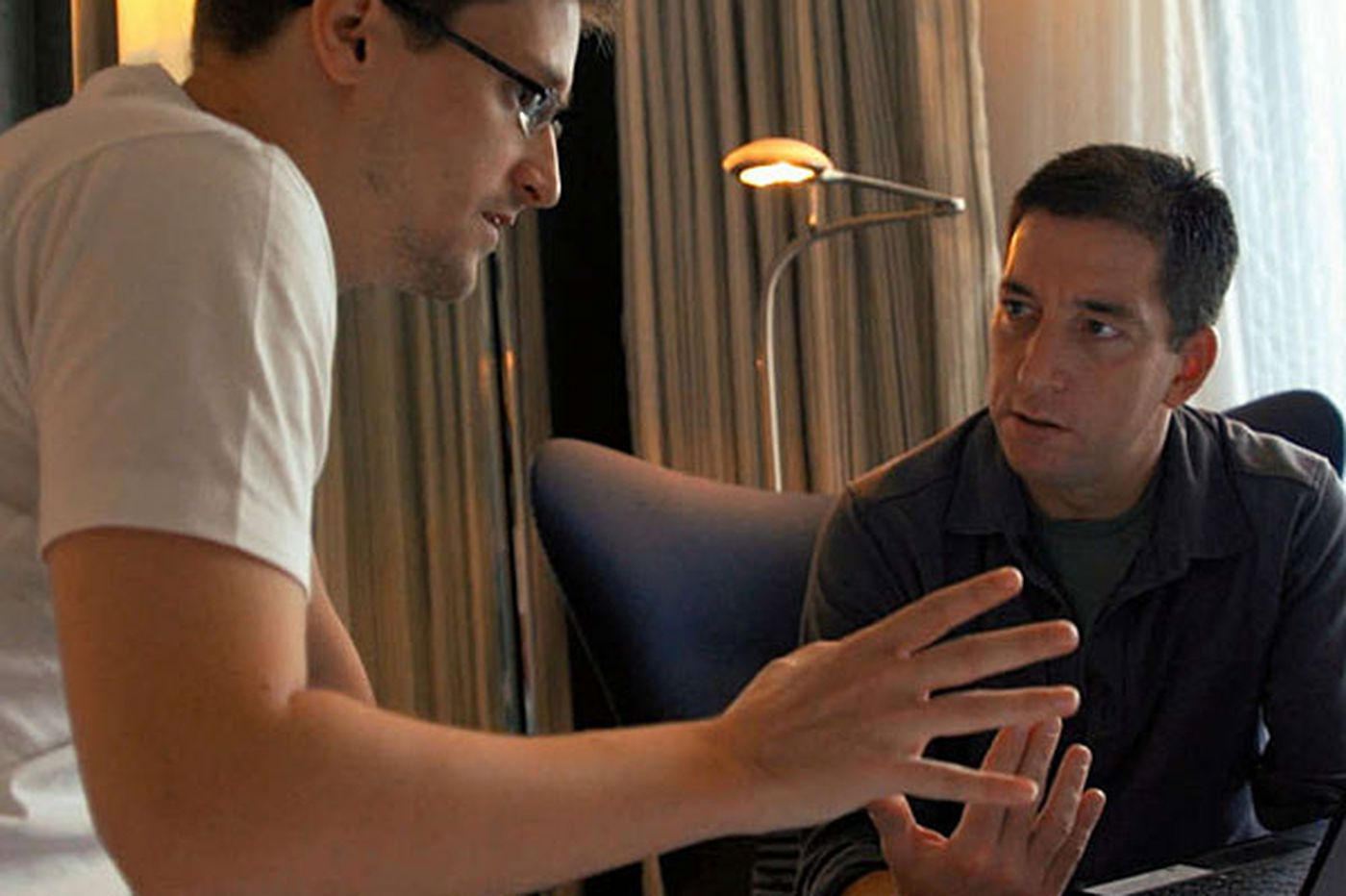 Snowden in a hotel room after alarming the world