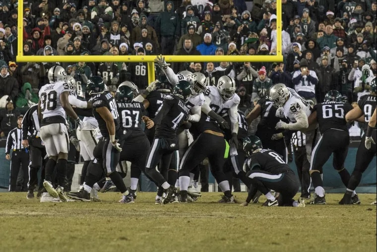 Eagles kicker Jake Elliott kicks the game-winning field goal in the fourth quarter of the Eagles 19-10 win over the Raiders. He made 2 of his 3 field-goal attempts.