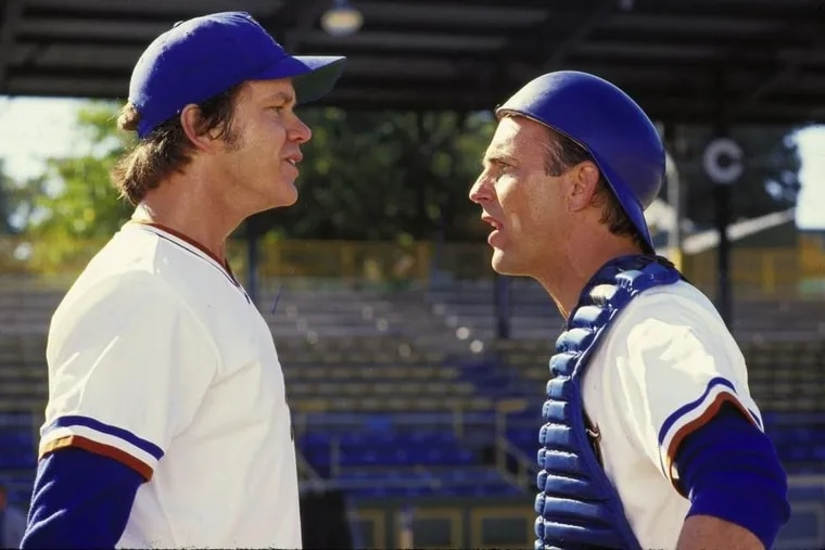 Tim Robbins, left, as Nuke LaLoosh, and Kevin Costner in Bull Durham.
