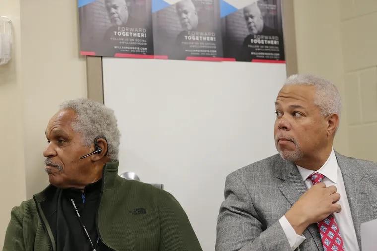 Former Mayor John Street (left) next to mayoral candidate Sen. Anthony Williams before Street endorsed Williams at Venango House in Philadelphia last week.
