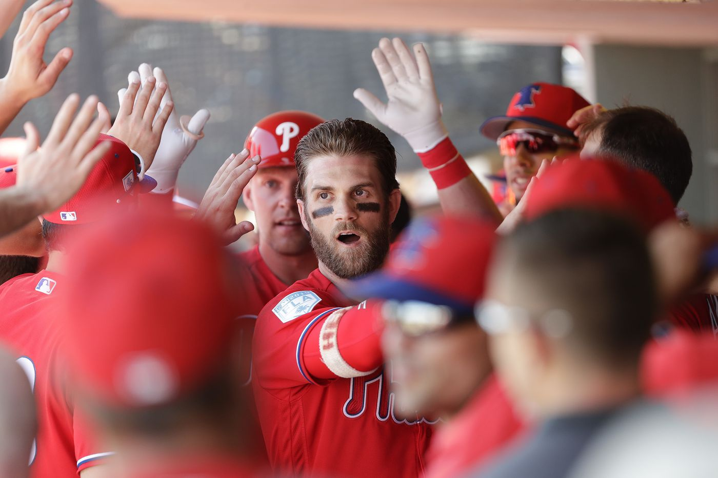 Phillies fans cheer for first glimpse of Bryce Harper in spring-training debut ... and he walks twice