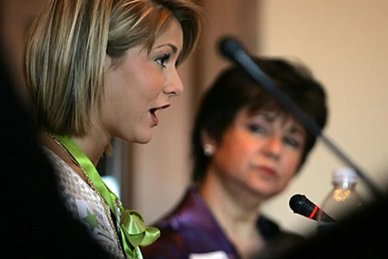 Kirsten Haglund, Miss America 2008, talks about her ordeal fighting an eating disorder during a 2009 news conference. An estimated 20 percent of female college students have an eating disorder. (Andre J. Jackson/Detroit Free Press/MCT)