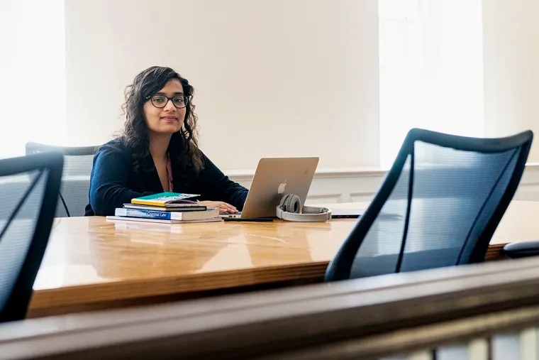 Haverford College student Soha Saghir works on her bibliography during final exam week.