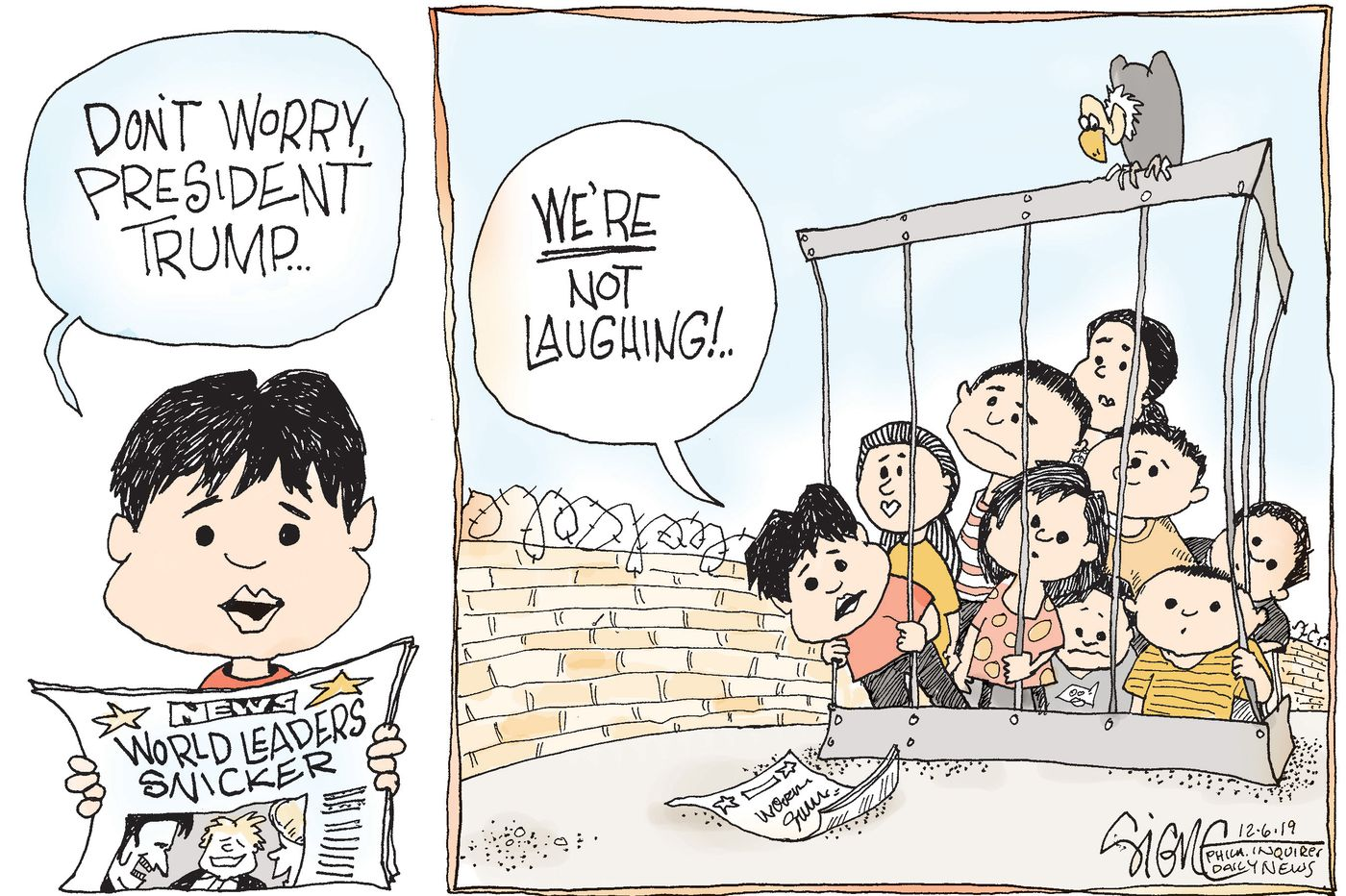 Political Cartoon: World leaders laugh at Trump, kids held at border not so much