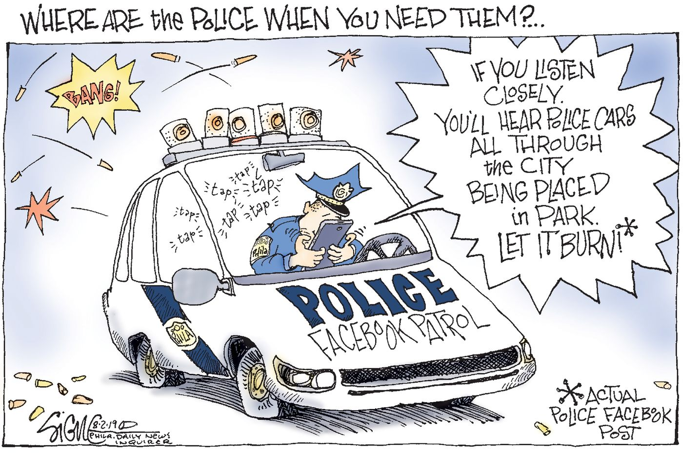 Political Cartoon: Philadelphia's Police Facebook squad