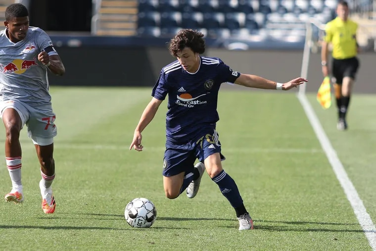 Paxten Aaronson, middle, playing for the Union's USL team against New York Red Bulls II on Aug. 5 at Subaru Park.