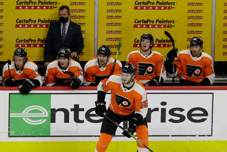 Samuel Morin, playing left wing against the Islanders earlier this season, has been used at his natural position, defense, in his last five games with the AHL's Phantoms.