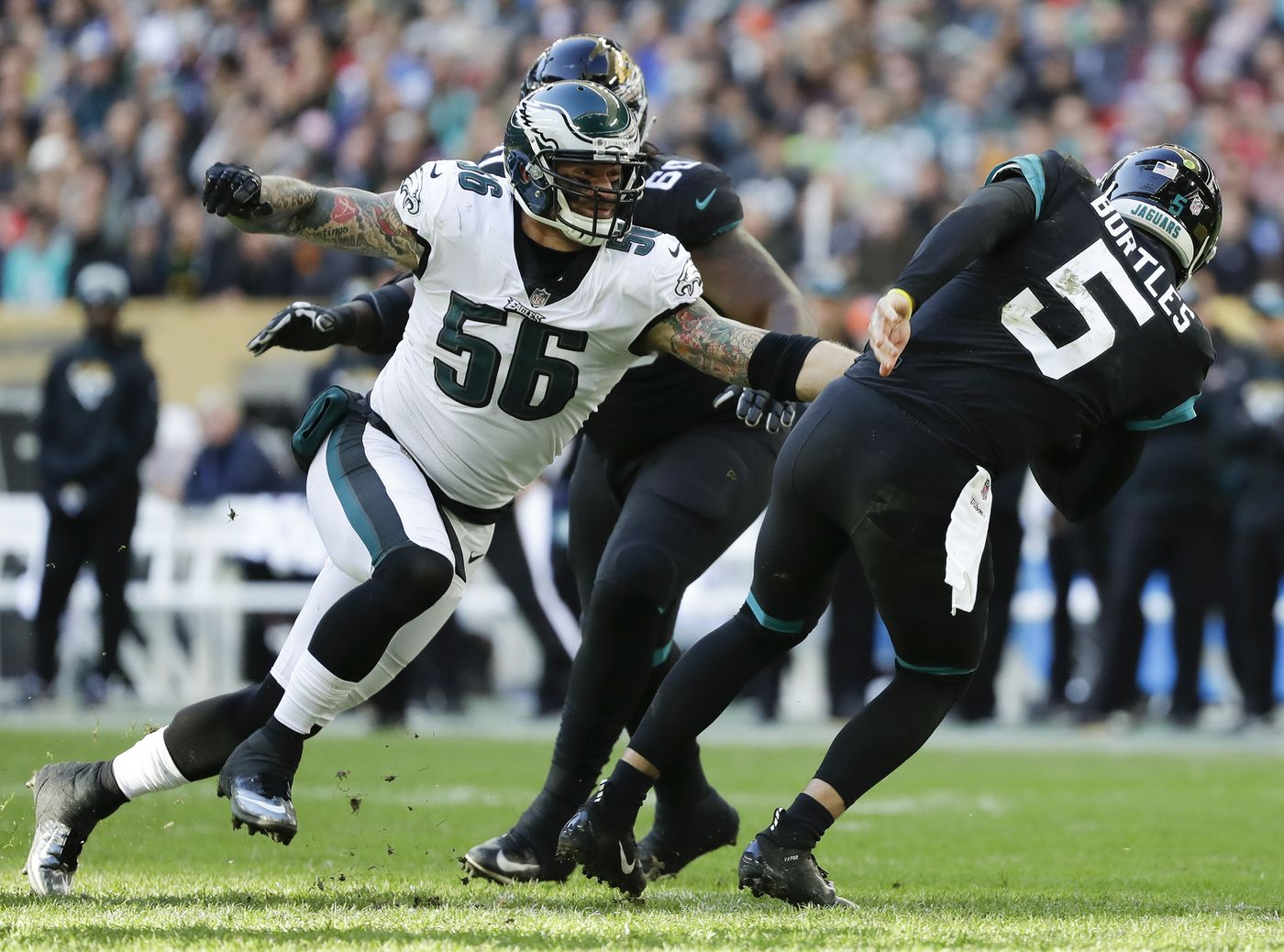ceced41c1 Eagles defensive end Chris Long sacks Jaguars quarterback Blake Bortles  during the first half of the