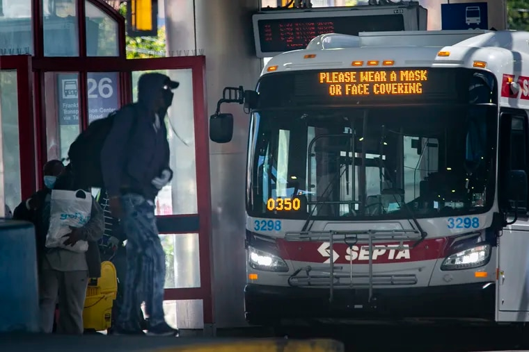 A SEPTA bus stopped at the Olney Station in North Philadelphia.