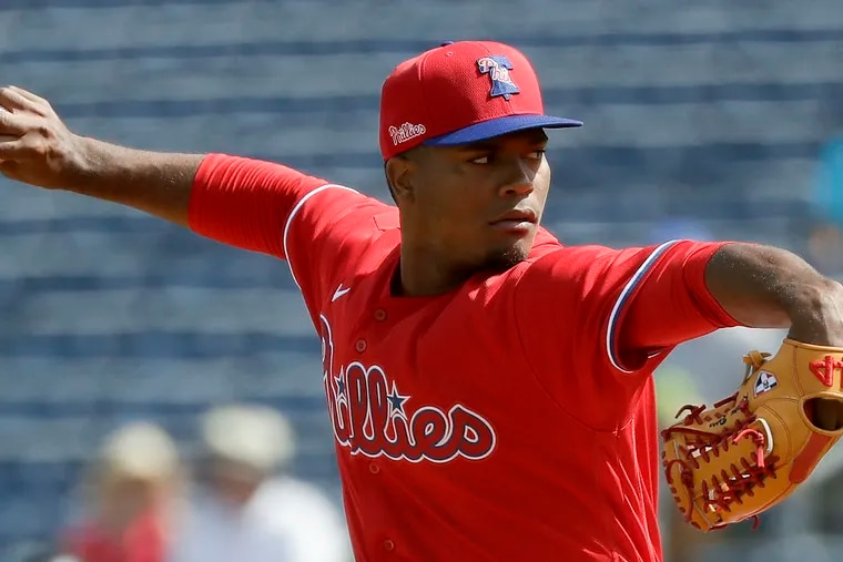 The Phillies' Ramon Rosso pitches in the third inning against the Baltimore Orioles at Spectrum Field in Clearwater, Fla.