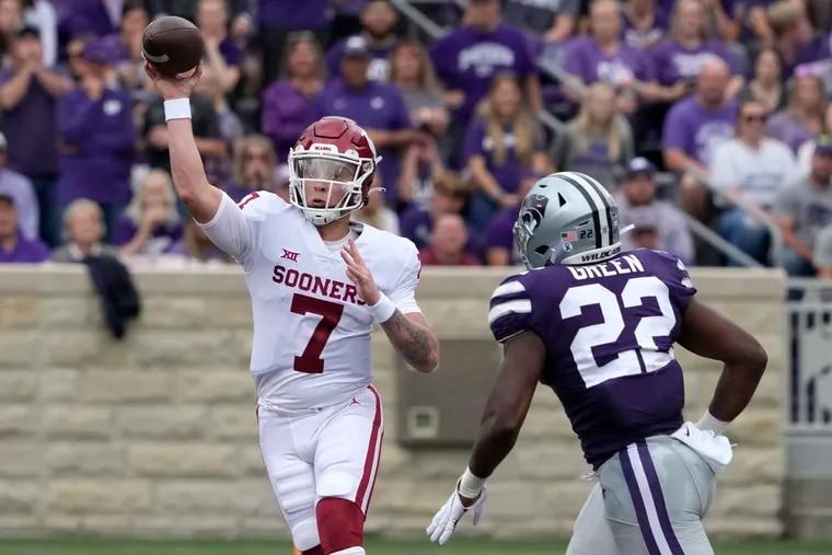 Oklahoma quarterback Spencer Rattler (7) looks to throw during last week's game against Kansas St.