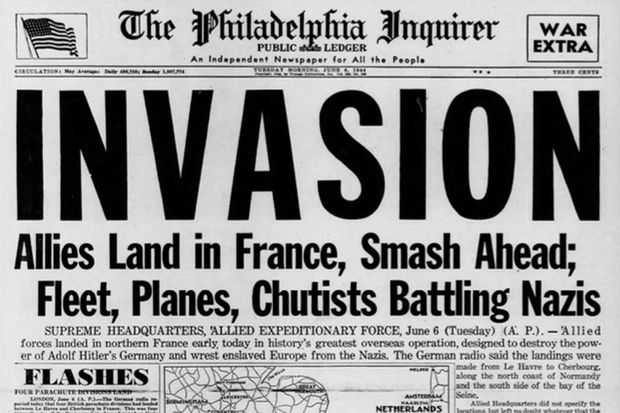 D-Day Anniversary: The front pages reporting the invasion