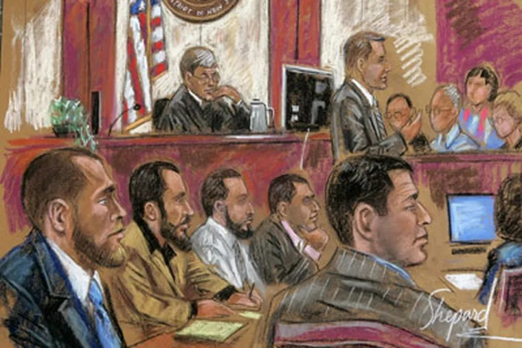 An artist's drawing showing defendants Shain Duka, bottom left, Eljvir Duka, Dritan Duka, Mohamad Ibrahim Shnewer and Serdar Tatar. The jury has convicted the five men of conspiracy for plotting an attack on an Army base. (AP Photo / Shirley Shepard, File)