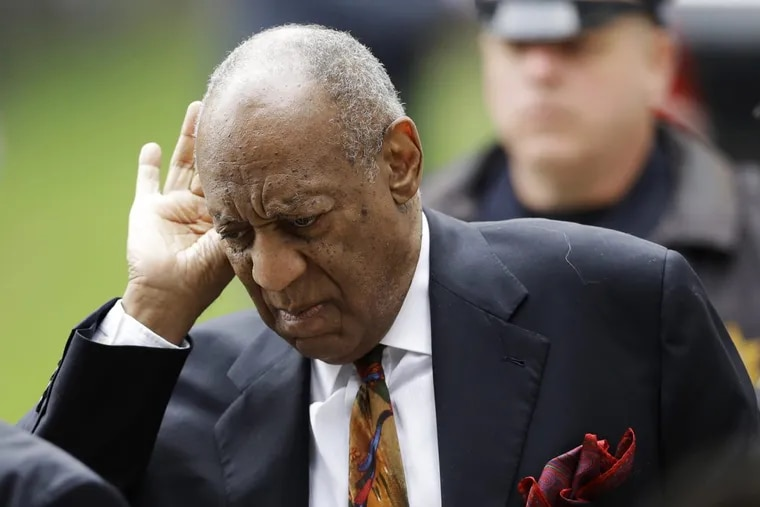 Bill Cosby gestures as he arrives for his sexual assault trial, Thursday, April 19, 2018, at the Montgomery County Courthouse in Norristown, Pa. (AP Photo/Matt Slocum)