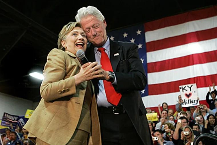 Democratic presidential hopeful Sen. Hillary Rodham Clinton, D-N.Y., hugged by former President Bill Clinton at a recent rally. (AP)