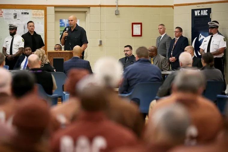 Lt. Gov. John Fetterman talks about the commutation process at SCI Dallas in Dallas, Pa., on Thursday, Oct. 10, 2019. Fetterman urged the audience of about 200 inmates, many with life sentences, to apply for commutation even if they have been denied in the past.