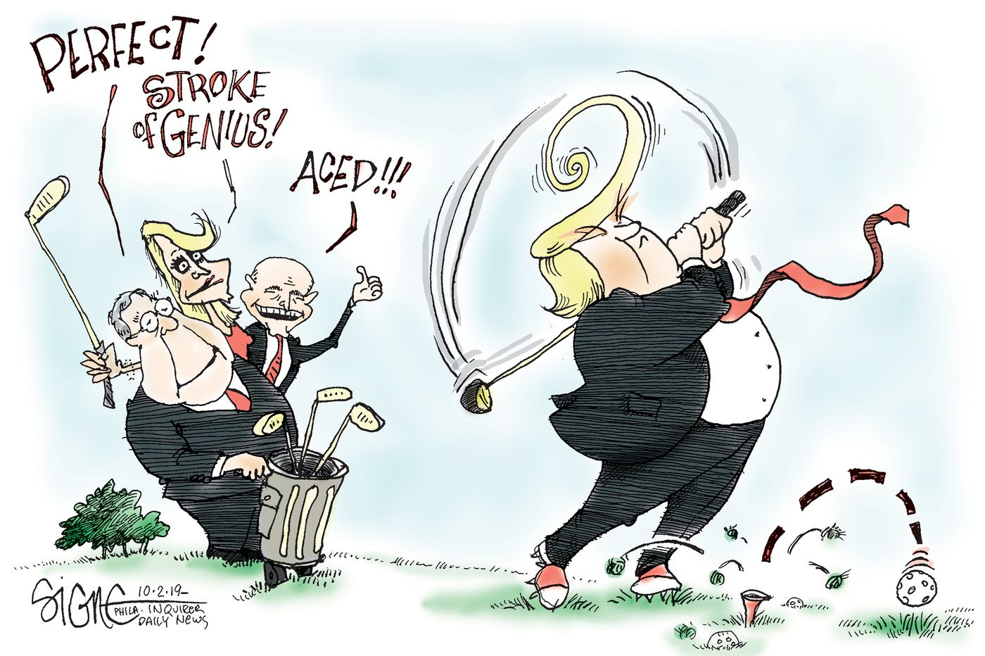 Political Cartoon: Trump's golf stroke of genius
