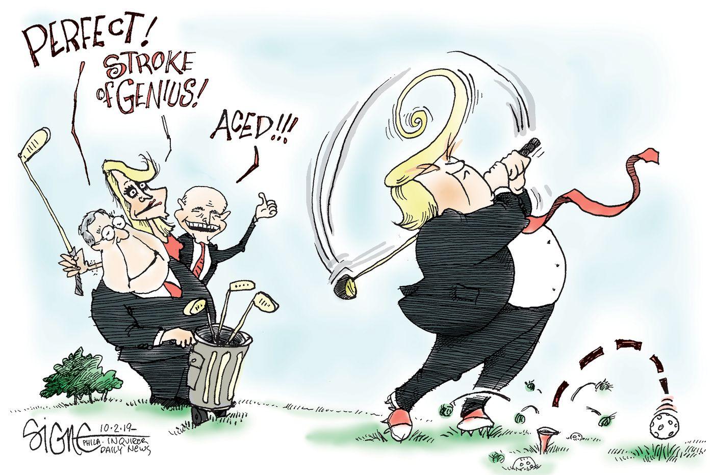 Political Cartoon Trump S Golf Stroke Of Genius