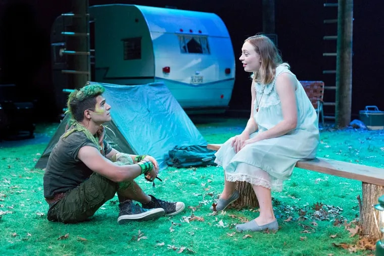 """Jo Vito Ramirez (left) as Peter and Emilie Krause as Wendy in """"Peter Pan,"""" through Jan. 28 at Arden Theatre Company."""