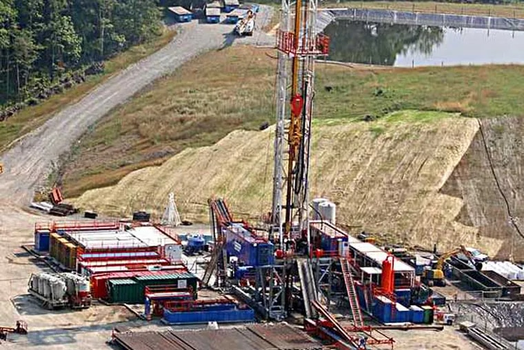 Aerial view of a Marcellus Shale drilling operation near Waynesburg, PA ( Michael Bryant / Staff Photographer  )