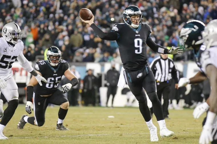 Eagles quarterback Nick Foles completed 19 of 38 passes for 163 yards, with one touchdown and one interception Monday against the Oakland Raiders.