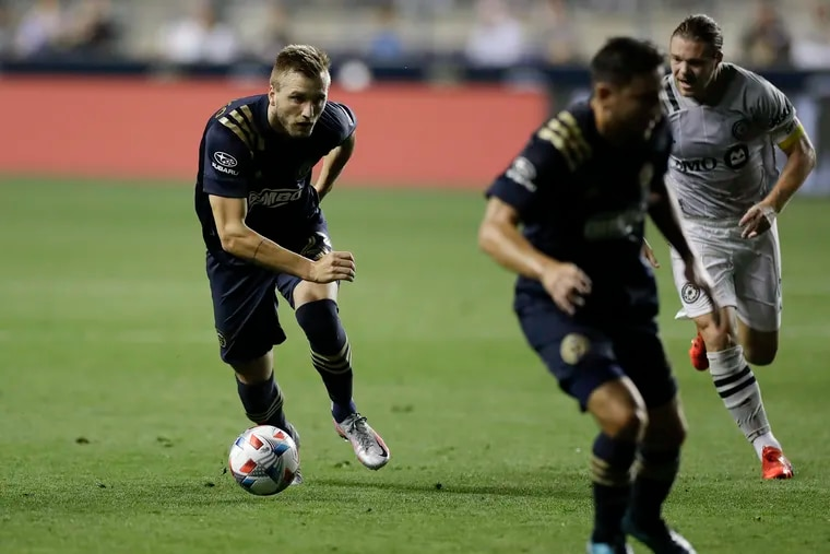Kacper Przybylko on the ball during the Union's 1-1 tie with Montreal at Subaru Park last Saturday.