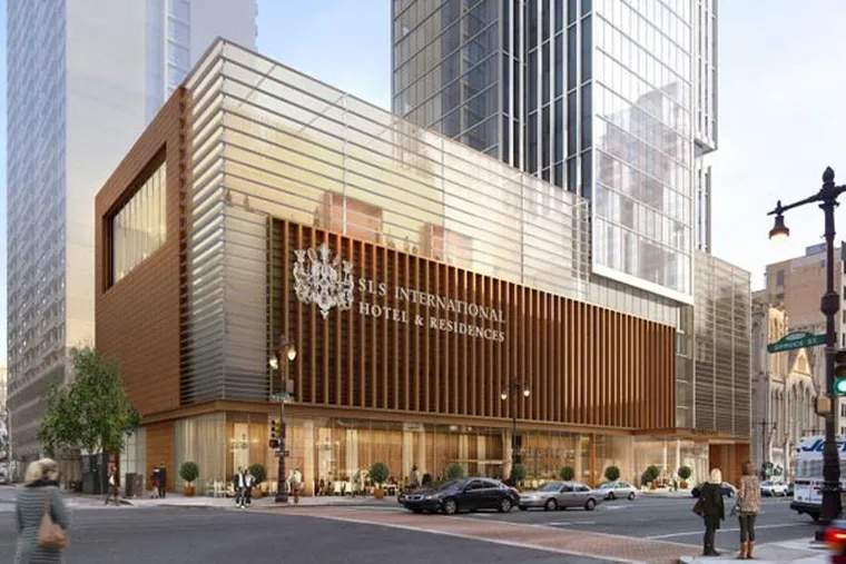 A rendering of part of Carl Dranoff's SLS International Hotel and Residences, a 47-story tower with 125 condos and 150 hotel rooms at Broad and Spruce streets. (KPF Associates)