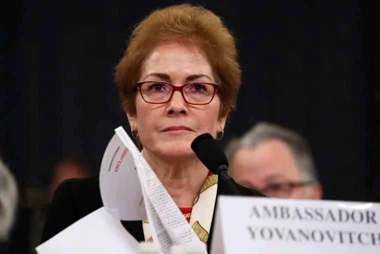 In this file photo dated Friday, Nov. 15, 2019, former U.S. Ambassador to Ukraine Marie Yovanovitch testifies before the House Intelligence Committee on Capitol Hill in Washington.