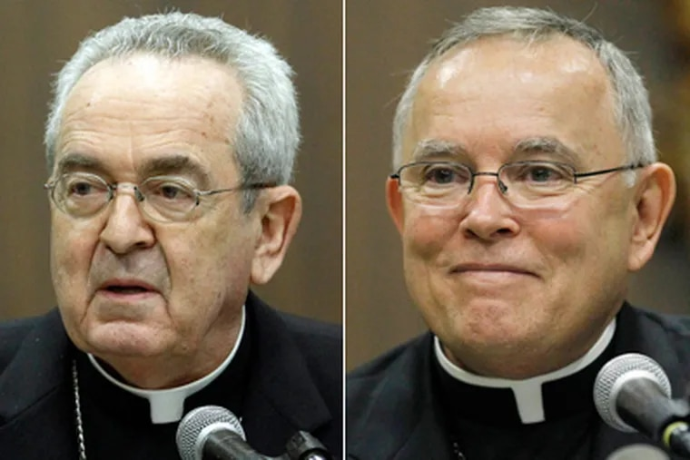 Cardinal Justin Rigali, left, will be replaced in Philadelphia by current Denver Archbishop Charles Chaput in September. (AP Photos)