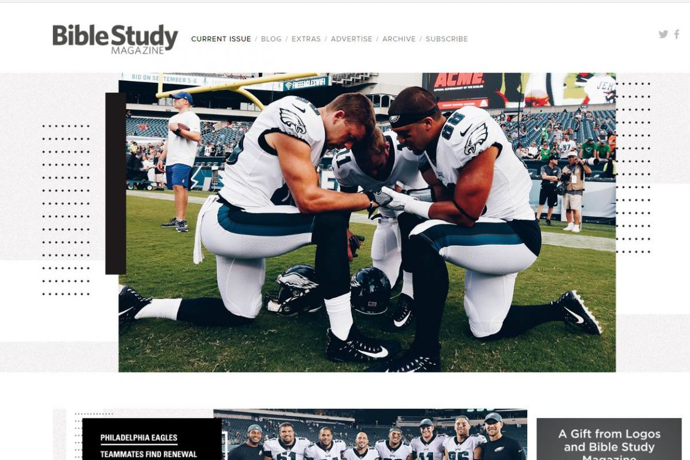 Eagles pray in hot tubs, closets and on vibration plates, players tell Bible Study mag