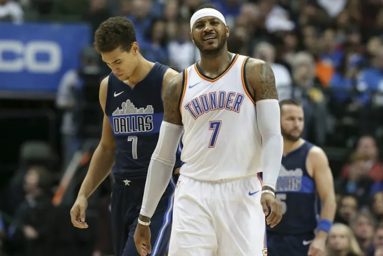 Carmelo Anthony and the Oklahoma City Thunder are in Philadelphia to face the 76ers.