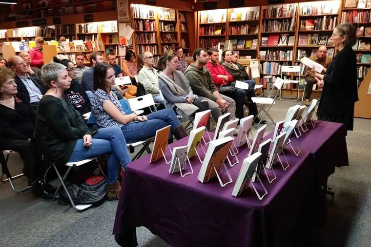Readers and publishers gather at the Penn Book Center for Indie Press Night in October 2018.