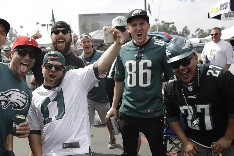 Eagles fans tailgate before the team's game against the Los Angeles Chargers on Oct. 1.