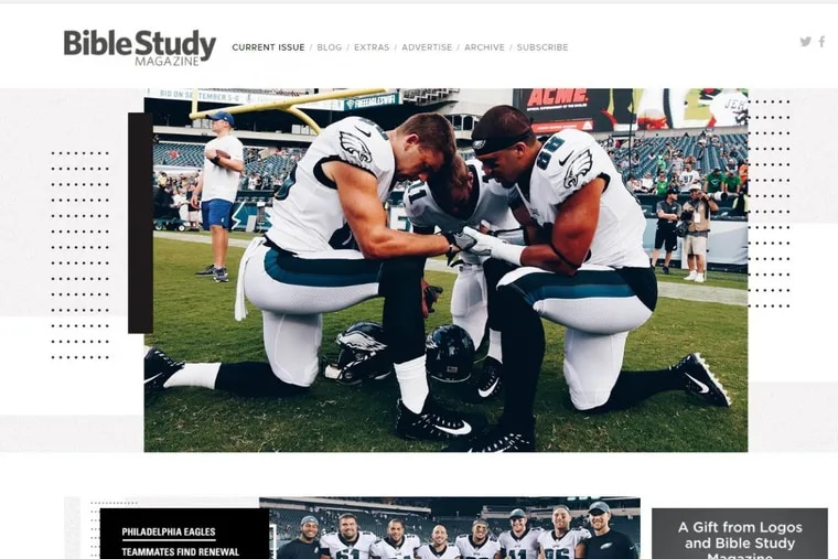 A group of Eagles players who have a Bible study group grace the cover of Bible Study magazine this month.